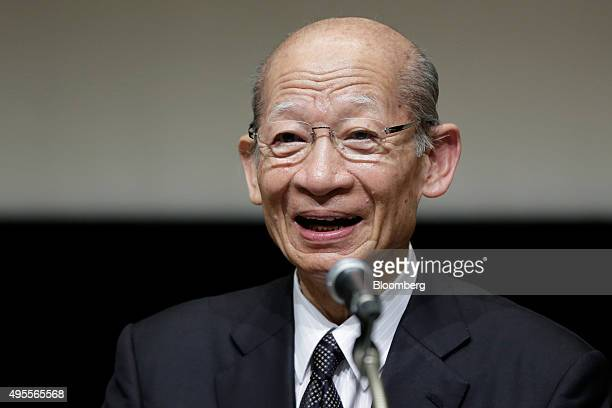Taizo Nishimuro president of Japan Post Holdings Co speaks during a news conference following the company's listing on the Tokyo Stock Exchange in...