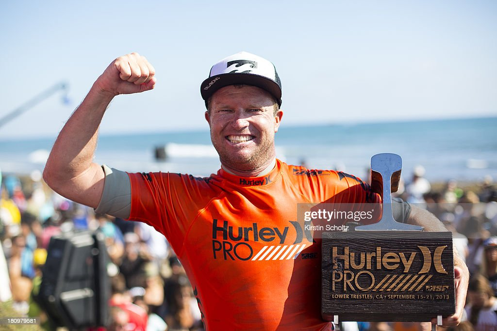 <a gi-track='captionPersonalityLinkClicked' href=/galleries/search?phrase=Taj+Burrow&family=editorial&specificpeople=544765 ng-click='$event.stopPropagation()'>Taj Burrow</a> of Australia celebrates his victory at the Hurley Pro Trestles on September 18, 2013 in San Diego, United States.