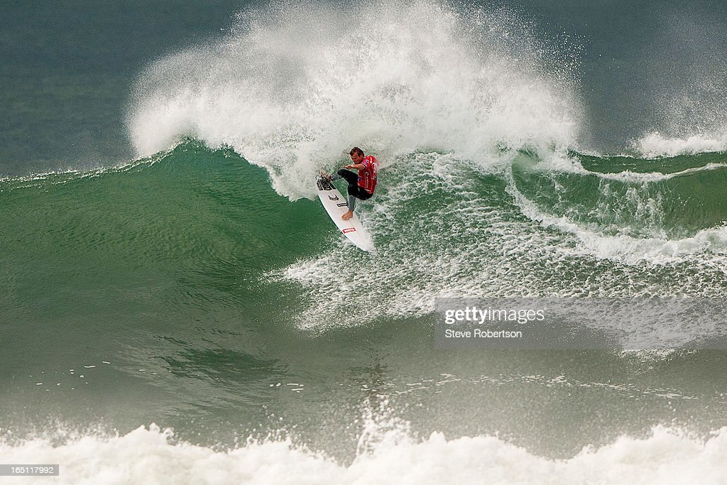 Taj Burrow of Australia surfing during the Rip Curl Pro on March 31, 2013 in Bells Beach, Australia. The West Australian won both his round 2 and 3 heats to move into round 4.