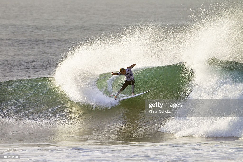 Taj Burrow of Australia surfs to an equal third place finish April 2, 2013 in Bells Beach, Australia.