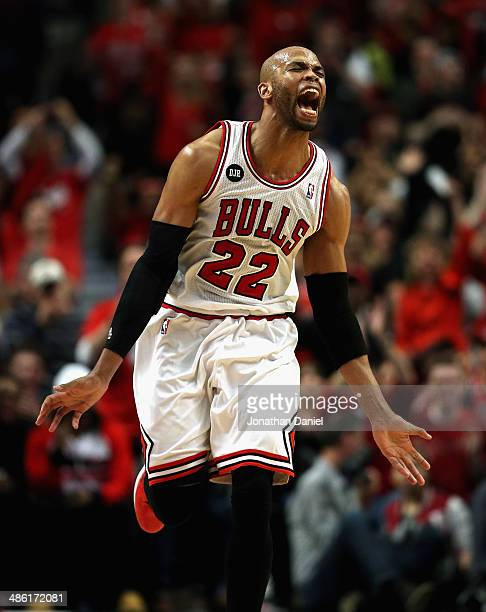 Taj Gibson of the Chicago Bulls celebrates after hitting a shot against the Washington Wizards in Game Two of the Eastern Conference Quarterfinals...