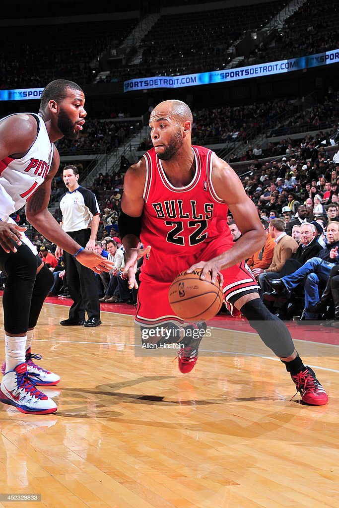 <a gi-track='captionPersonalityLinkClicked' href=/galleries/search?phrase=Taj+Gibson&family=editorial&specificpeople=4029461 ng-click='$event.stopPropagation()'>Taj Gibson</a> #22 of the Chicago Bulls drives to the basket against the Detroit Pistons on November 27, 2013 at The Palace of Auburn Hills in Auburn Hills, Michigan.