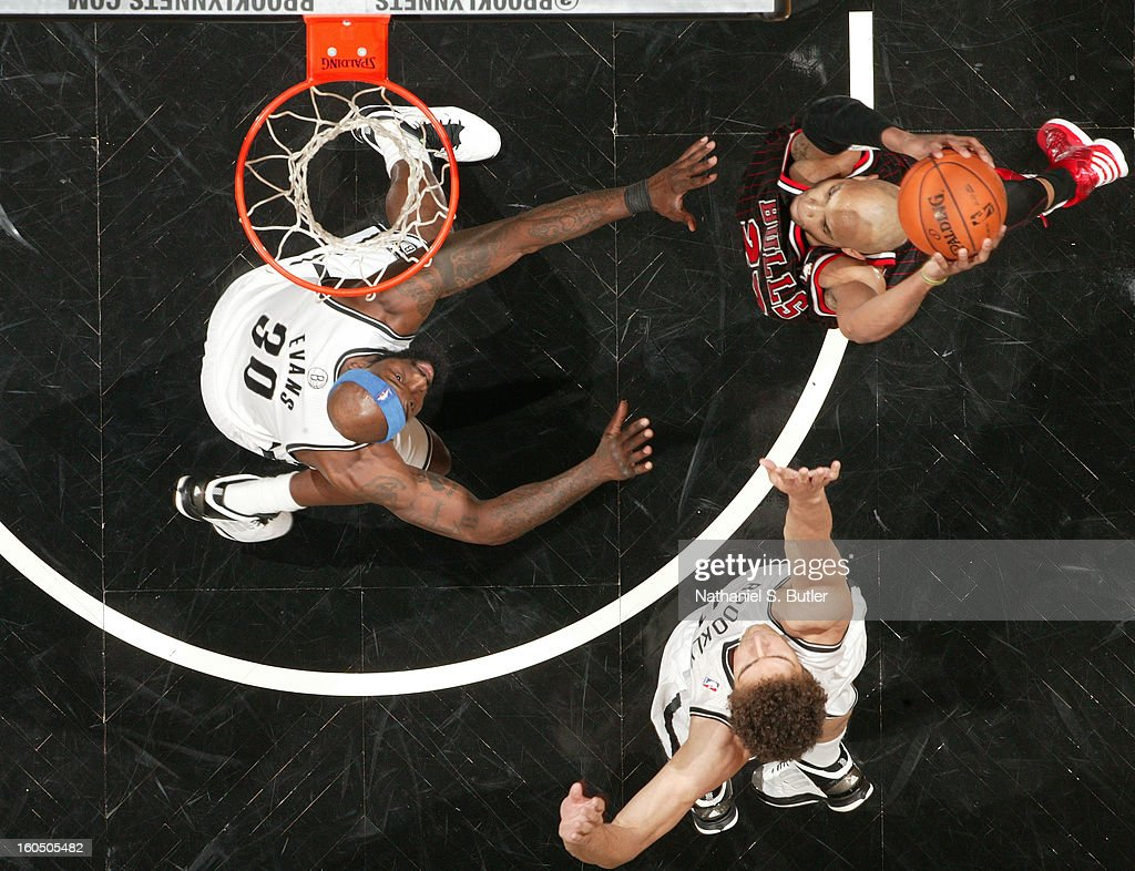 Taj Gibson #22 of the Chicago Bulls dunks the ball against the Brooklyn Nets on February 1, 2013 at the Barclays Center in the Brooklyn borough of New York City.