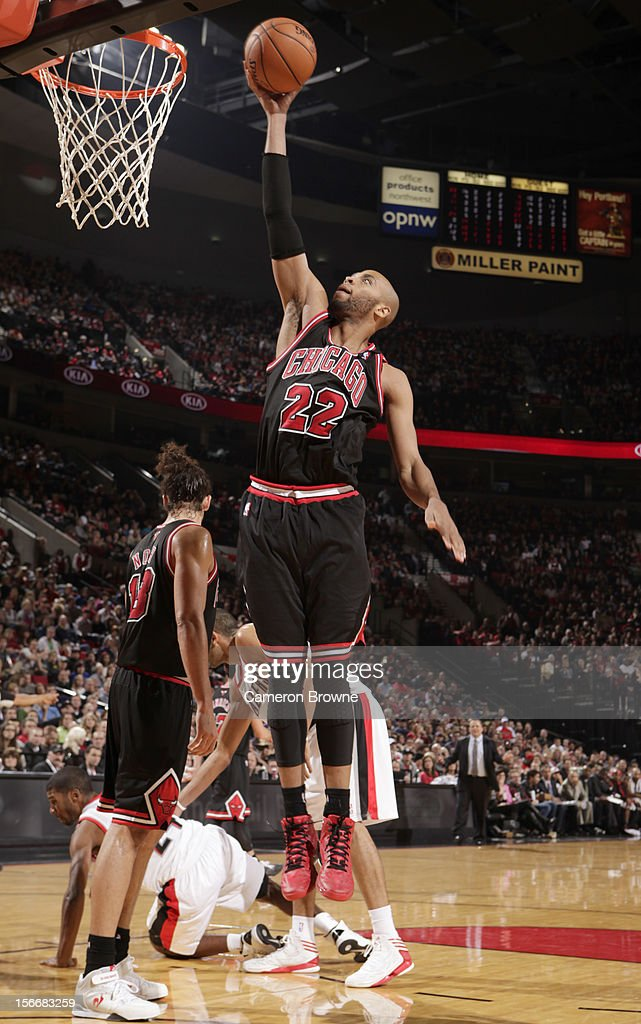 Taj Gibson #22 of the Chicago Bulls goes to the basket during the game between the Chicago Bulls and the Portland Trail Blazers on November 18, 2012 at the Rose Garden Arena in Portland, Oregon.