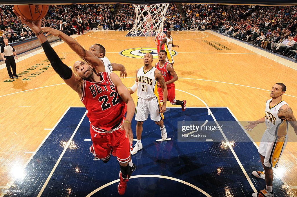 Taj Gibson #22 of the Chicago Bulls goes to the basket during the game between the Indiana Pacers and the Chicago Bulls on February 4, 2013 at Bankers Life Fieldhouse in Indianapolis, Indiana.
