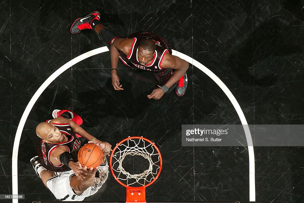 Taj Gibson #22 of the Chicago Bulls goes up for a rebound against the Brooklyn Nets on February 1, 2013 at the Barclays Center in the Brooklyn borough of New York City.