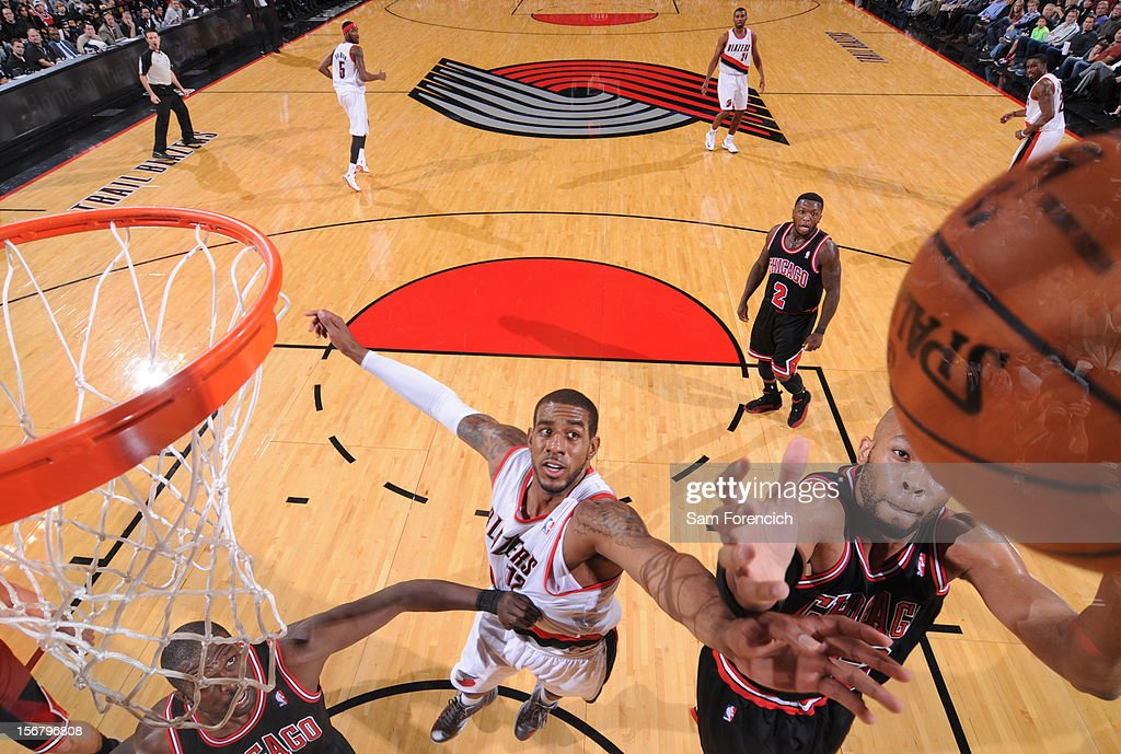<a gi-track='captionPersonalityLinkClicked' href=/galleries/search?phrase=Taj+Gibson&family=editorial&specificpeople=4029461 ng-click='$event.stopPropagation()'>Taj Gibson</a> #22 of the Chicago Bulls grabs the rebound against <a gi-track='captionPersonalityLinkClicked' href=/galleries/search?phrase=LaMarcus+Aldridge&family=editorial&specificpeople=453277 ng-click='$event.stopPropagation()'>LaMarcus Aldridge</a> #12 of the Portland Trail Blazers on November 18, 2012 at the Rose Garden Arena in Portland, Oregon.