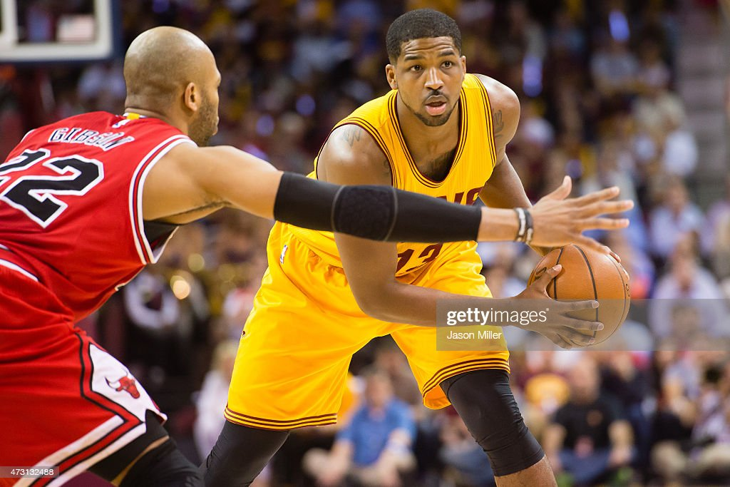 Taj Gibson of the Chicago Bulls guards Tristan Thompson of the Cleveland Cavaliers in the first half during Game Five in the Eastern Conference...