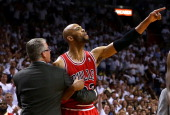 Taj Gibson of the Chicago Bulls is ejected after arguing with referee Scott Foster during Game Two of the Eastern Conference Semifinals of the 2013...