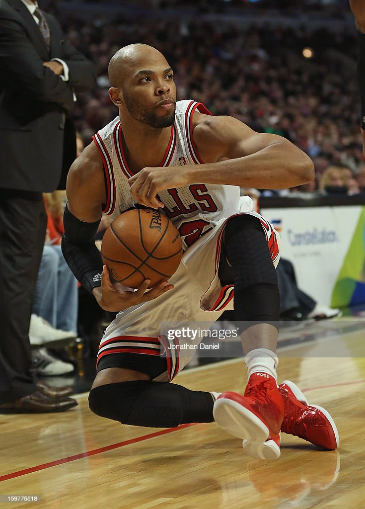 Taj Gibson #22 of the Chicago Bulls looks to the referee after grabbing a loose ball against the Memphis Grizzles at the United Center on January 19, 2013 in Chicago, Illinois. The Grizzlies defeated the Bulls 85-82 in overtime.
