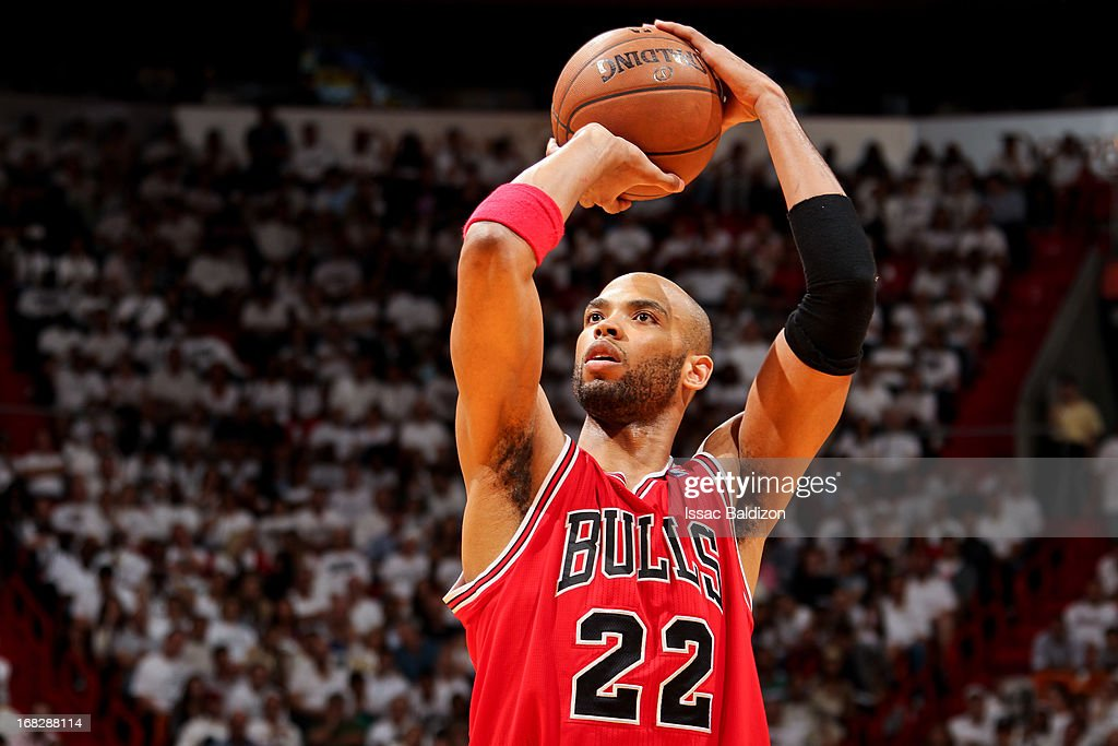 Taj Gibson #22 of the Chicago Bulls shoots a free-throw against the Miami Heat in Game One of the Eastern Conference Semifinals during the 2013 NBA Playoffs on May 6, 2013 at American Airlines Arena in Miami, Florida.