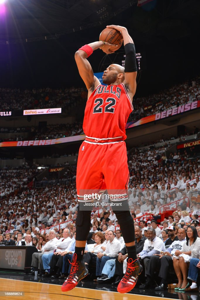 Taj Gibson #22 of the Chicago Bulls shoots against the Chicago Bulls in Game Five of the Eastern Conference Semifinals during the 2013 NBA Playoffs on May 15, 2013 at American Airlines Arena in Miami, Florida.