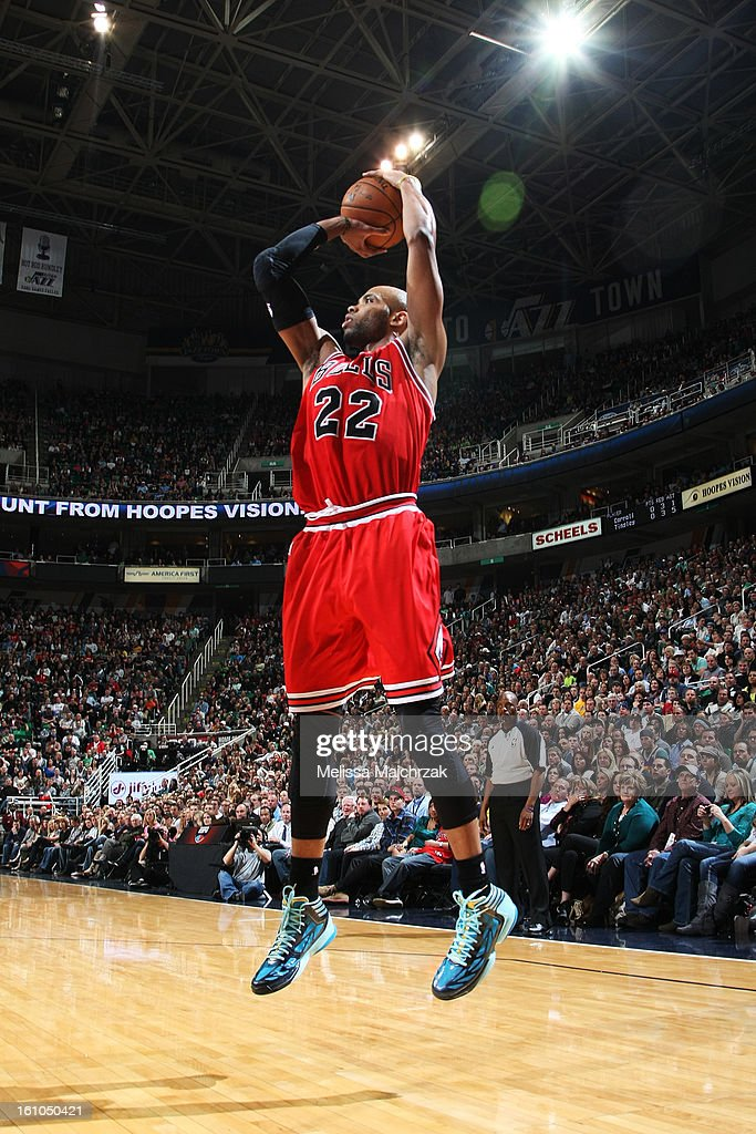 <a gi-track='captionPersonalityLinkClicked' href=/galleries/search?phrase=Taj+Gibson&family=editorial&specificpeople=4029461 ng-click='$event.stopPropagation()'>Taj Gibson</a> #22 of the Chicago Bulls shoots against the Utah Jazz at Energy Solutions Arena on February 08, 2013 in Salt Lake City, Utah.