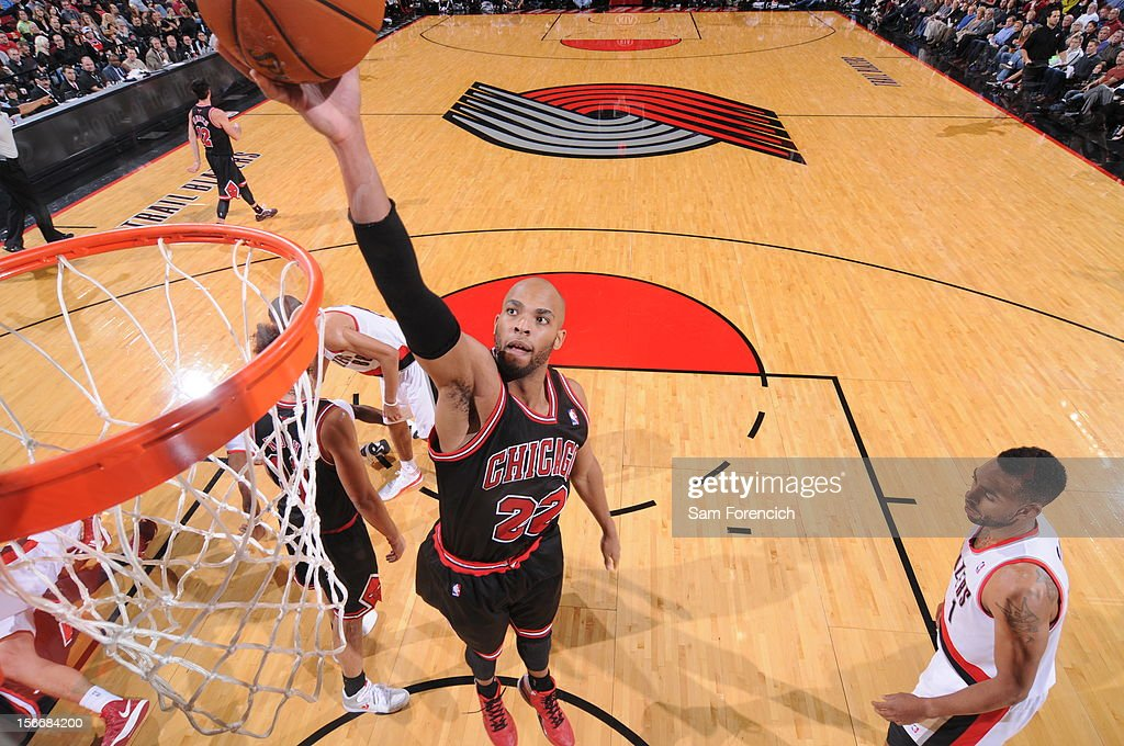 Taj Gibson #22 of the Chicago Bulls shoots the ball against the Portland Trail Blazers on November 18, 2012 at the Rose Garden Arena in Portland, Oregon.