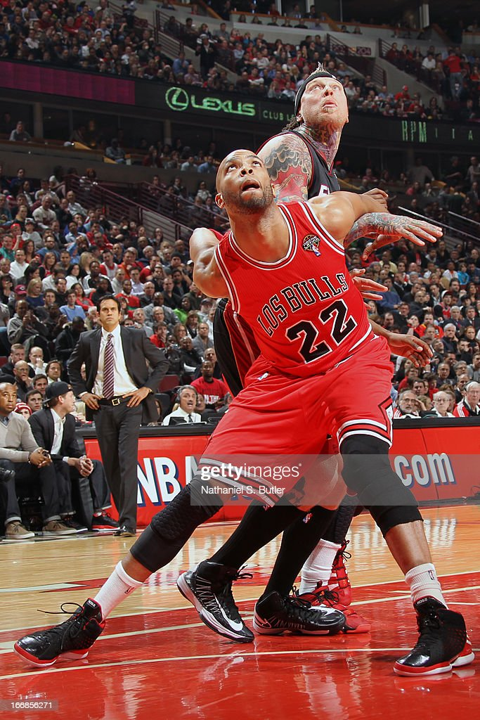 <a gi-track='captionPersonalityLinkClicked' href=/galleries/search?phrase=Taj+Gibson&family=editorial&specificpeople=4029461 ng-click='$event.stopPropagation()'>Taj Gibson</a> #22 of the Chicago Bulls waits for the ball against the Miami Heat Chicago Bulls on March 27, 2013 at the United Center in Chicago, Illinois.