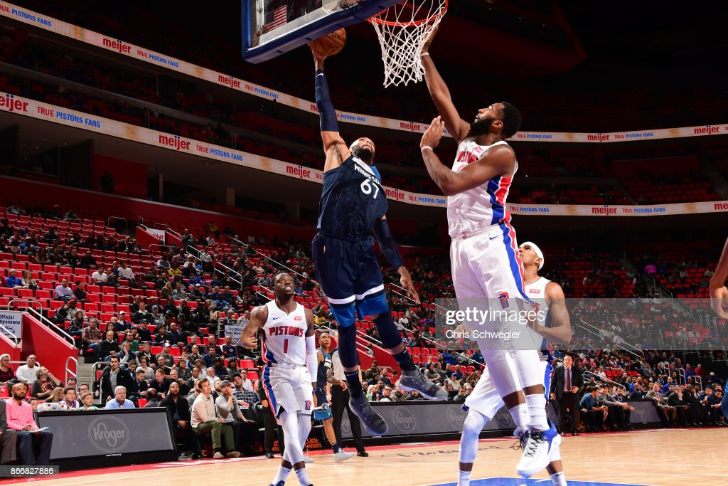 Taj Gibson #67 of the Minnesota Timberwolves drives to the basket against the Detroit Pistons on October 25, 2017 at Little Caesars Arena in Detroit, Michigan.