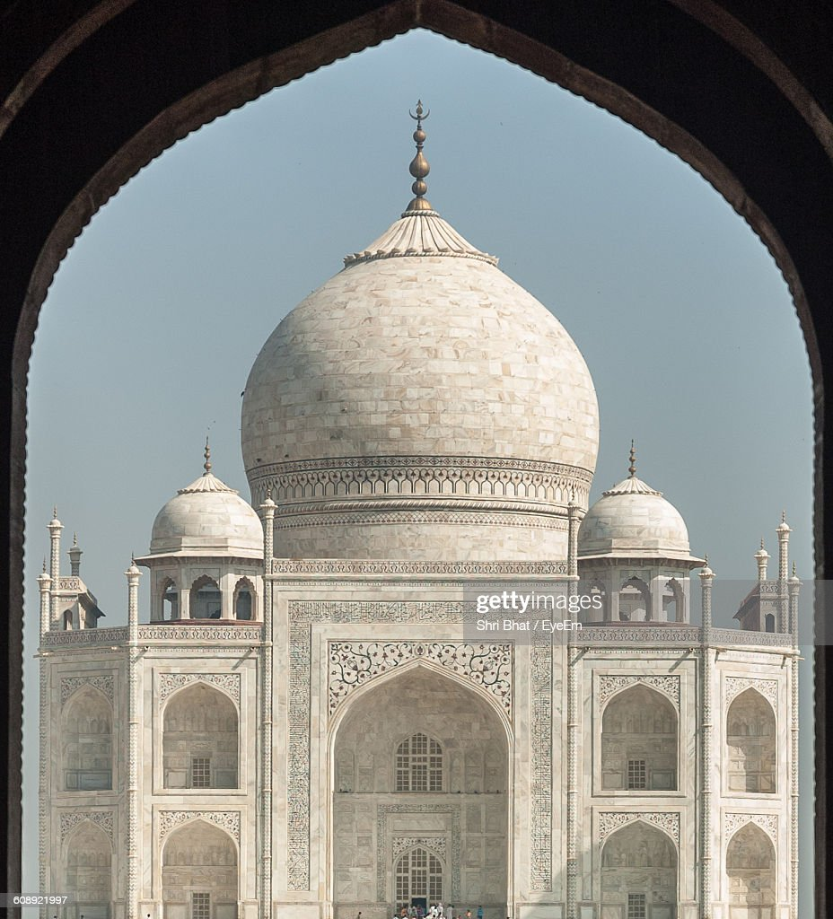 Taj Mahal Against Clear Sky Seen From Arch