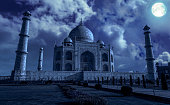 Taj Mahal is a white marble mausoleum on the banks of the Yamuna river built by Mughal Emperor Shah Jahan. A UNESCO World Heritage site at Agra, India.