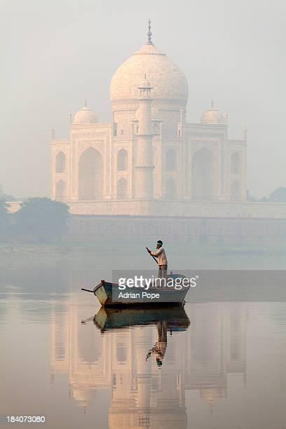 Taj Mahal and boatman, Agra