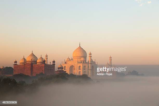 Taj Mahal and early morning fog