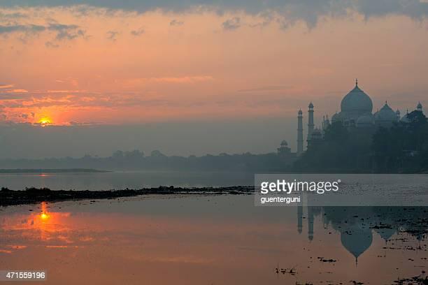 Taj Mahal at sunrise with reflections in Yamuna River, XXXL