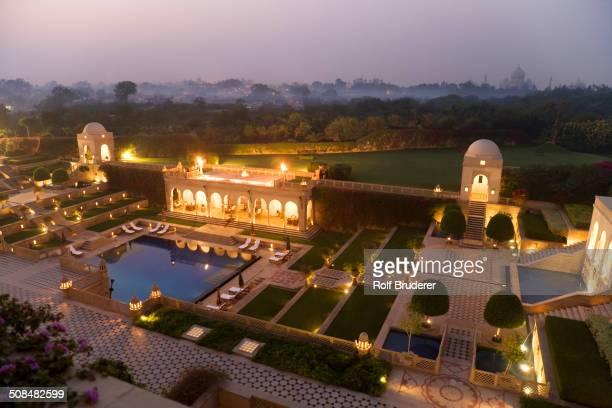 Taj Mahal gardens lit up at night, Agra, India