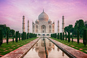 The Taj Mahal is a mausoleum located in Agra, India. It is one of the most recognizable structures in the world. Taj Mahal is regarded as one of the eight wonders of the world.