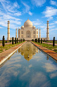 Taj Mahal and reflecting pool, Agra, Uttar Pradesh, India.
