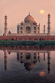 Sunset over the Taj Mahal in Agra, India