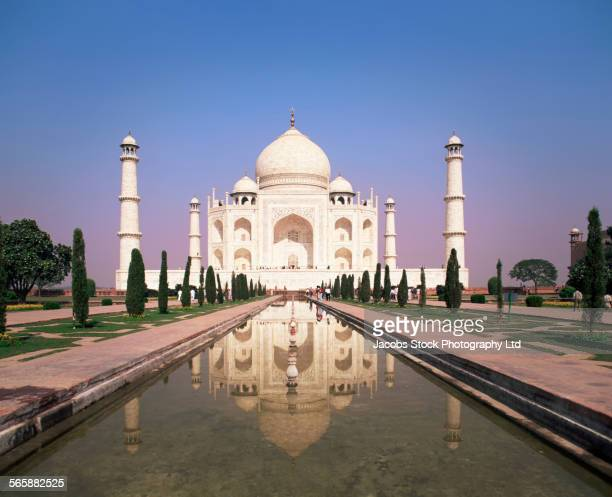 Taj Mahal reflection in courtyard pond, Agra, Uttar Pradesh, India