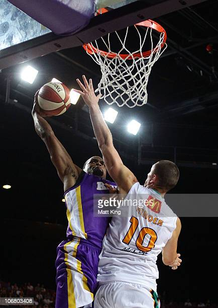 Taj McCullough of the Kings attempts a dunk during the round four NBL match between the Sydney Kings and the Townsville Crocodiles at Sydney...