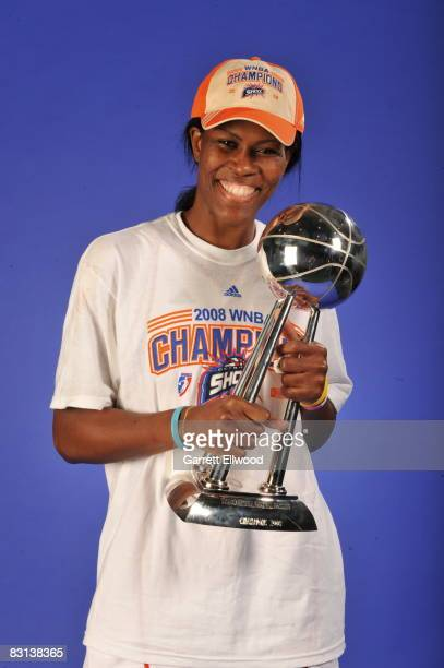 Taj McWilliamsFranklin of the Detroit Shock poses for a portrait after winning Game Three of the WNBA Finals against the San Antonio Silver Star on...