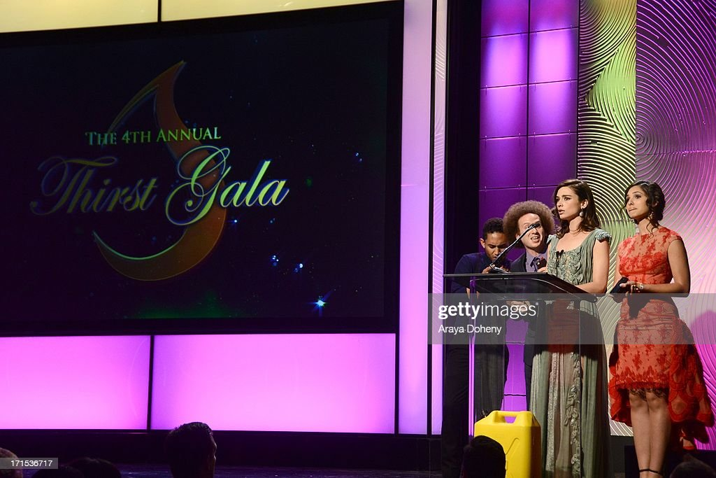 Taj Mowry, Josh Sussman, Crystal Reed and Camila Banus speak at The Thirst Project 4th annual gala and performance at The Beverly Hilton Hotel on June 25, 2013 in Beverly Hills, California.