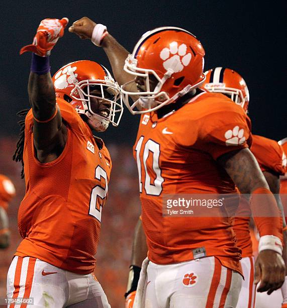 Tajh Boyd and Sammy Watkins of the Clemson Tigers celebrate after Boyd scored a touchdown during the game against the Georgia Bulldogs at Memorial...