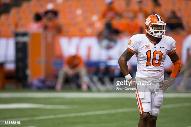 Tajh Boyd of Clemson Tigers takes a breather in warmups before a football game against Syracuse Orange on October 5 2013 at the Carrier Dome in...