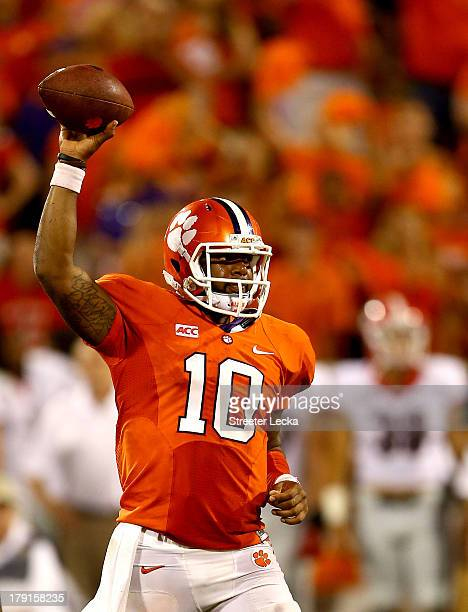 Tajh Boyd of the Clemson Tigers celebrates after defeating the Georgia Bulldogs 3835 at Memorial Stadium on August 31 2013 in Clemson South Carolina
