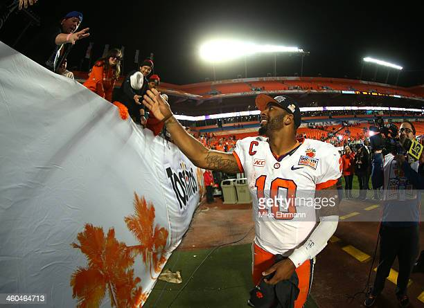Tajh Boyd of the Clemson Tigers celebrates after defeating the Ohio State Buckeyes during the Discover Orange Bowl at Sun Life Stadium on January 3...