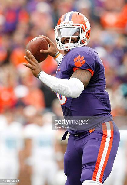 Tajh Boyd of the Clemson Tigers drops back to pass during the game against the Citadel Bulldogs at Memorial Stadium on November 23 2013 in Clemson...