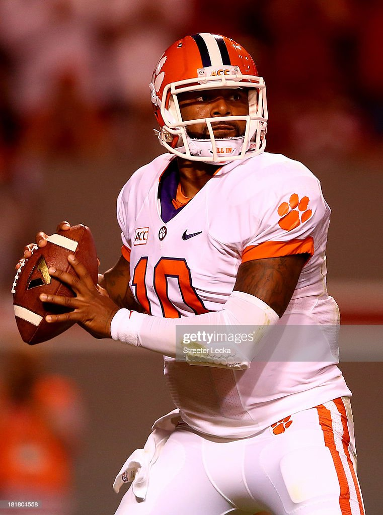 Tajh Boyd #10 of the Clemson Tigers during their game at Carter-Finley Stadium on September 19, 2013 in Raleigh, North Carolina.