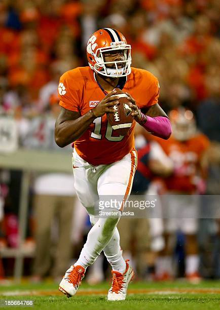 Tajh Boyd of the Clemson Tigers during their game at Memorial Stadium on October 19 2013 in Clemson South Carolina