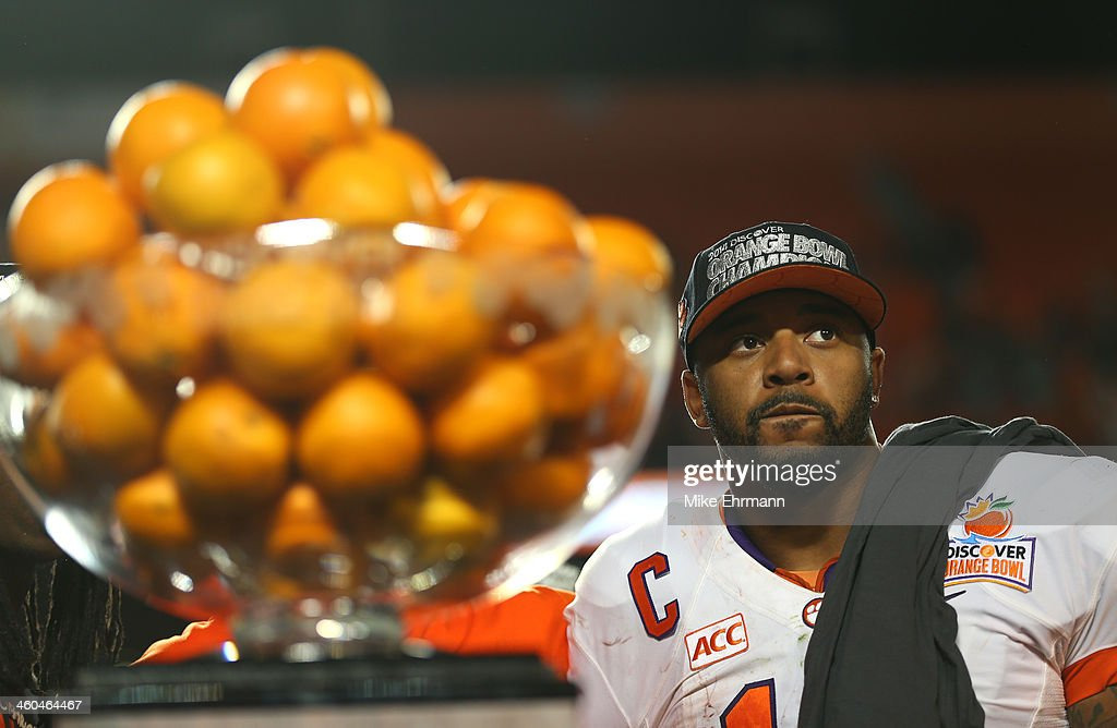 Tajh Boyd #10 of the Clemson Tigers looks on from the trophy podium after defeating the Ohio State Buckeyes during the Discover Orange Bowl at Sun Life Stadium on January 3, 2014 in Miami Gardens, Florida. Clemson defeated Ohio State 40-35.