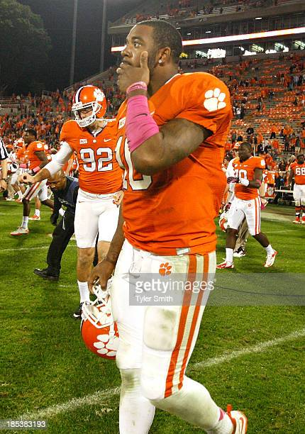 Tajh Boyd of the Clemson Tigers reacts after the game against the Florida State Seminoles at Memorial Stadium on October 19 2013 in Clemson South...
