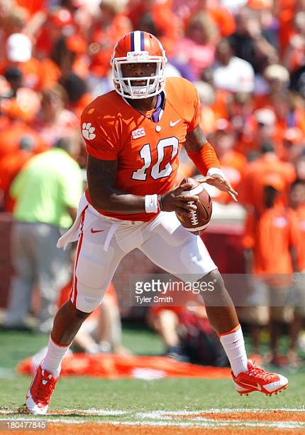 Tajh Boyd of the Clemson Tigers scrambles during the game against the South Carolina State Bulldogs at Memorial Stadium on September 7 2013 in...