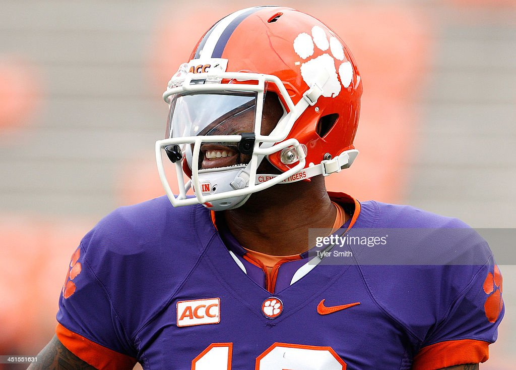 <a gi-track='captionPersonalityLinkClicked' href=/galleries/search?phrase=Tajh+Boyd&family=editorial&specificpeople=7352415 ng-click='$event.stopPropagation()'>Tajh Boyd</a> #10 of the Clemson Tigers smiles during warm ups before the game against the Citadel Bulldogs at Memorial Stadium on November 23, 2013 in Clemson, South Carolina.