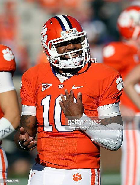 Tajh Boyd of the Clemson Tigers smiles during warm ups prior to their game against the North Carolina State Wolfpack at Memorial Stadium on November...