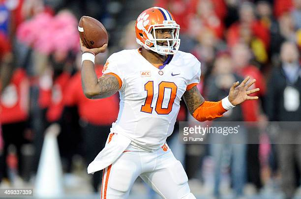 Tajh Boyd of the Clemson Tigers throws a pass against the Maryland Terrapins at Byrd Stadium on October 26 2013 in College Park Maryland
