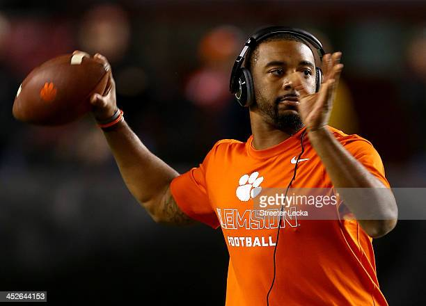 Tajh Boyd of the Clemson Tigers warms up before their game against the South Carolina Gamecocks at WilliamsBrice Stadium on November 30 2013 in...