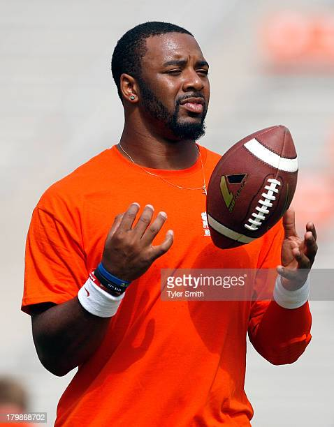 Tajh Boyd of the Clemson Tigers warms up prior to the game against the South Carolina State Bulldogs at Memorial Stadium on September 7 2013 in...