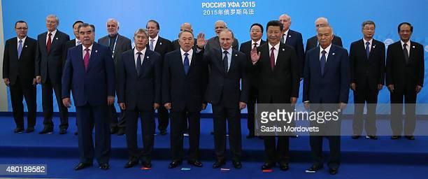 Tajik President Emomali Rahmon Kyrgyz President Almazbek Atambayev Kazakh President Nursultan Nazarbayev Russian President Vladimir Putin Chinese...