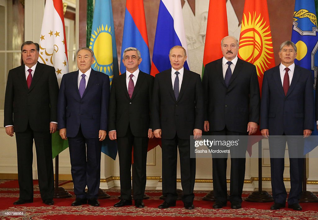 Tajik President Emomali Rakhmon, Kazakh President <a gi-track='captionPersonalityLinkClicked' href=/galleries/search?phrase=Nursultan+Nazarbayev&family=editorial&specificpeople=4556028 ng-click='$event.stopPropagation()'>Nursultan Nazarbayev</a>, Armenian President <a gi-track='captionPersonalityLinkClicked' href=/galleries/search?phrase=Serzh+Sargsyan&family=editorial&specificpeople=4583219 ng-click='$event.stopPropagation()'>Serzh Sargsyan</a>, Russian President <a gi-track='captionPersonalityLinkClicked' href=/galleries/search?phrase=Vladimir+Putin&family=editorial&specificpeople=154896 ng-click='$event.stopPropagation()'>Vladimir Putin</a>, Belarussian President <a gi-track='captionPersonalityLinkClicked' href=/galleries/search?phrase=Alexander+Lukashenko&family=editorial&specificpeople=542572 ng-click='$event.stopPropagation()'>Alexander Lukashenko</a> and Kyrgyz President <a gi-track='captionPersonalityLinkClicked' href=/galleries/search?phrase=Almazbek+Atambayev&family=editorial&specificpeople=4229890 ng-click='$event.stopPropagation()'>Almazbek Atambayev</a> pose for a group photo at the welcoming ceremony in the Grand Kremlin Palace on December 23, 2014 in Moscow, Russia. Leaders of Russia, Belarus, Kazakhstan, Kyrgyzstan and Tajikistan have arrived to Moscow to take part in the Summit of Collective Security Treaty Organisation (CSTO) and in the Summit of Eurasian Economic Cooperation Union.